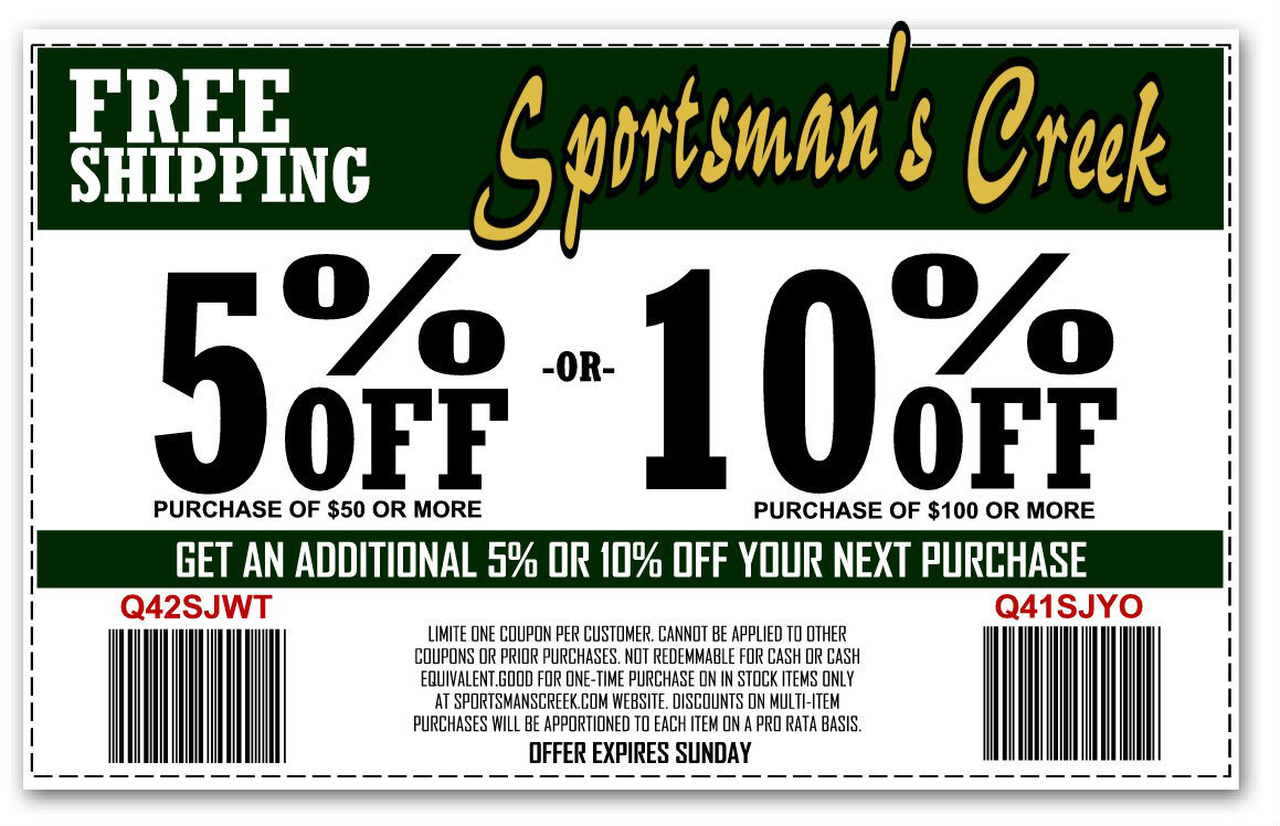 Sportsmans Creek Coupons on Schrade Knives, Cold Steel Knives, Coleman Camping Gear