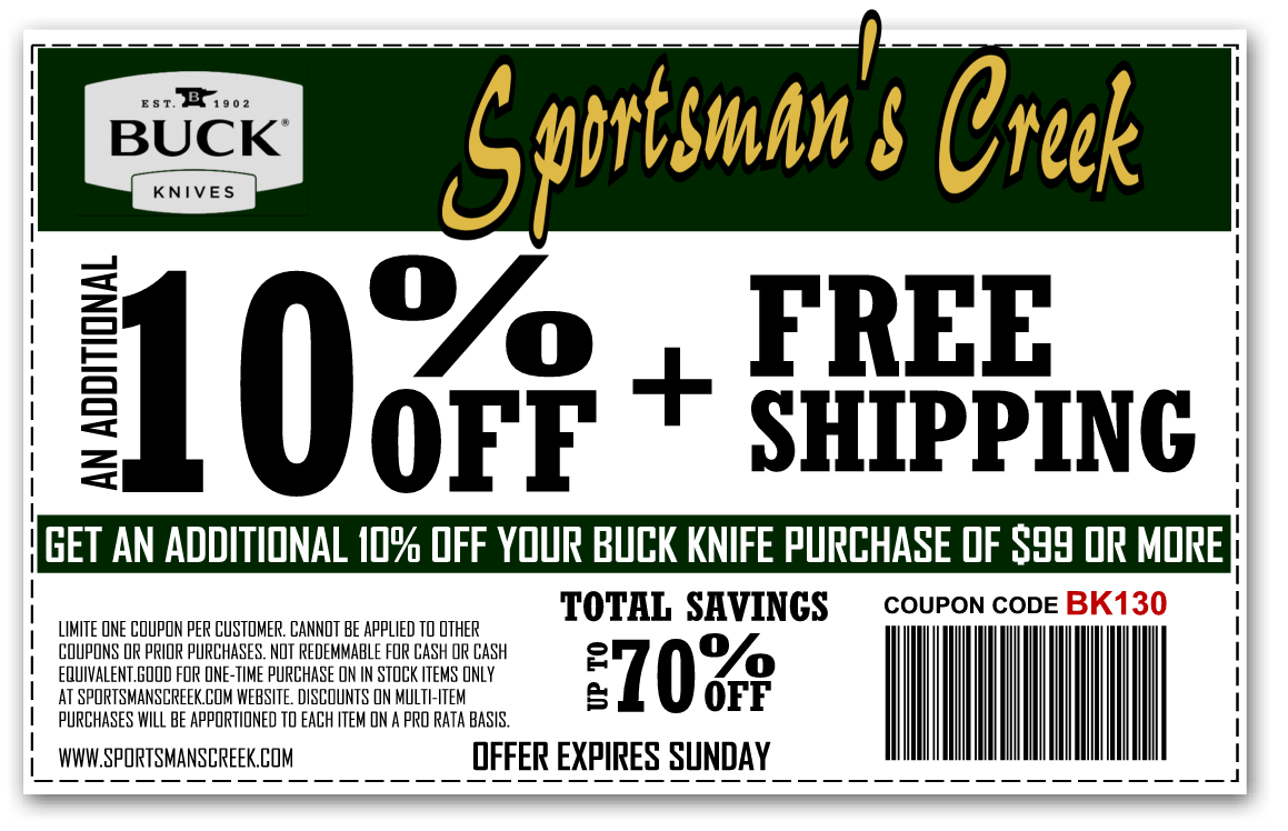 Sportsman's Creek Copons | Buck Knives, Buck Knife Coupon, Buck Knife 110, buck knife 119